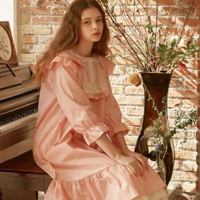 [울랄라파자마] 나일라 긴팔 원피스 핑크