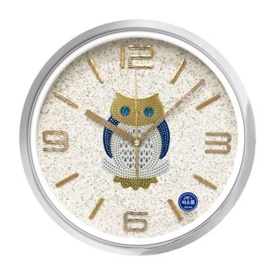 HI-OW04 실버 크롬테두리 황금 부엉이 벽시계