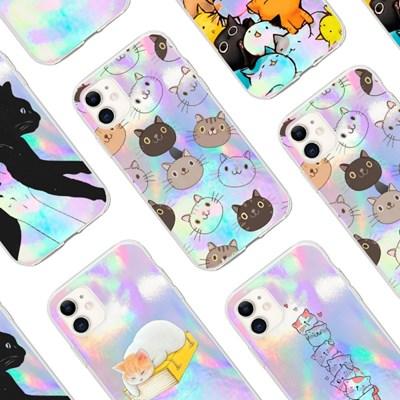 감성 폰꾸 아이폰 고양이 그림 투명 젤리케이스