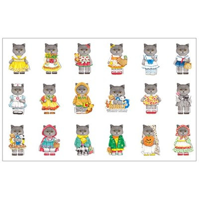 DIY패브릭 - 고양이 러블리 미니 (약 70X45cm)