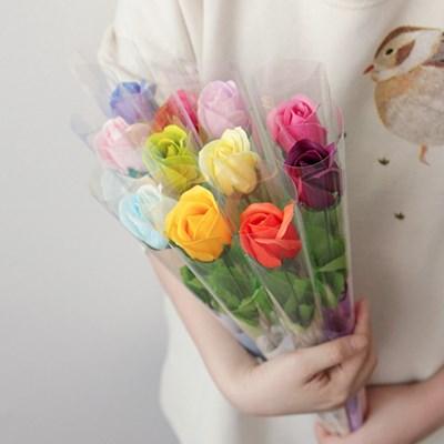 13색상 비누장미 한송이 꽃다발