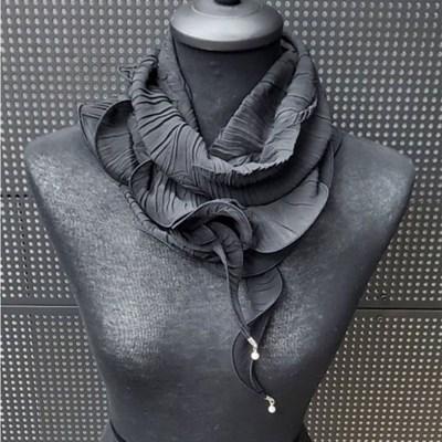 주름 진주 실키 브레이 블랙 데일리 미시 패션 스카프