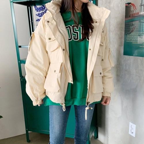 겟잇미 로지 겨울 포켓 후드 하프 패딩
