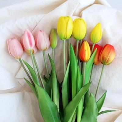 프리미엄 망고 튤립 조화 꽃다발 5송이 묶음