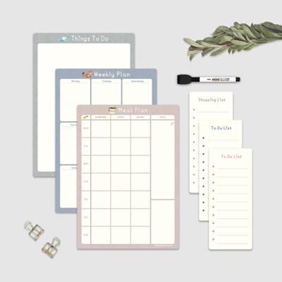 자석 냉장고메모보드 A4 컬러파레트 메모패드 보드마커 구성