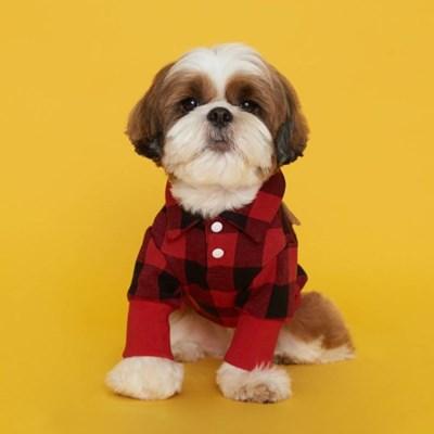 플로트 체크셔츠 강아지옷 레드