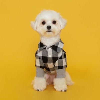 플로트 체크셔츠 강아지옷 그레이