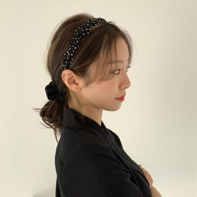 [바로배송] 2col 도트 쉬폰 헤어밴드 3cm