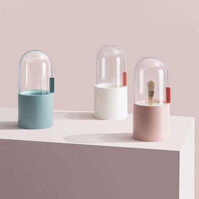 뚜껑있는 브러쉬 꽂이 화장품정리함  3color