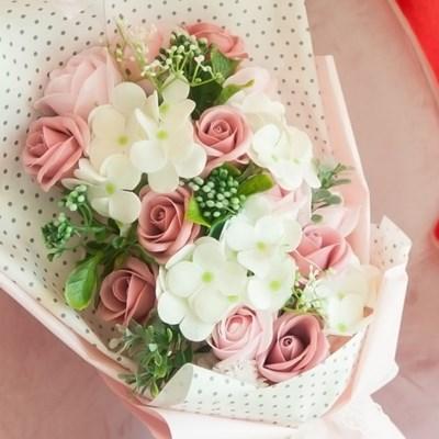 블라썸 핑크 비누꽃 꽃다발 기념일 선물 부케_(2592415)