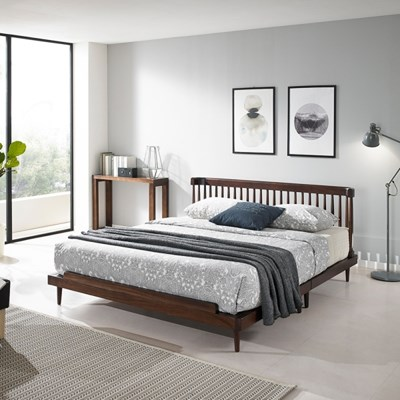 라벨르 북유럽 장미목 원목 평상형 침대프레임 킹