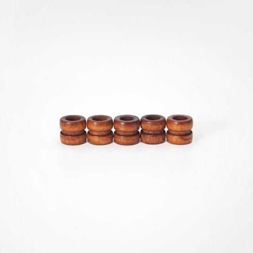 나무 구슬 장식 (5개) - 스트랩마무리 액세서리 재료