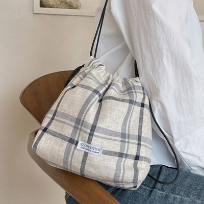 linen check mini bag
