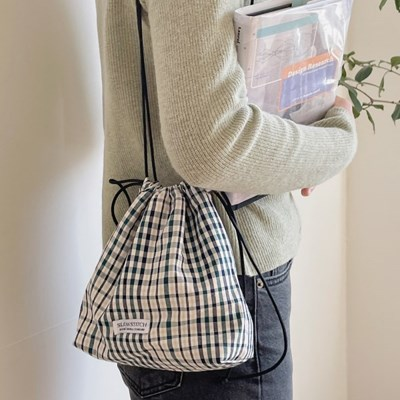 green check mini bag