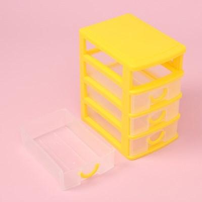 컬러팝 4단 멀티박스(옐로우) / 소품수납 미니서랍