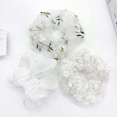 [3개세트][3color] 화이트 셀프 웨딩 하객룩 헤어 슈슈 곱창 머리끈