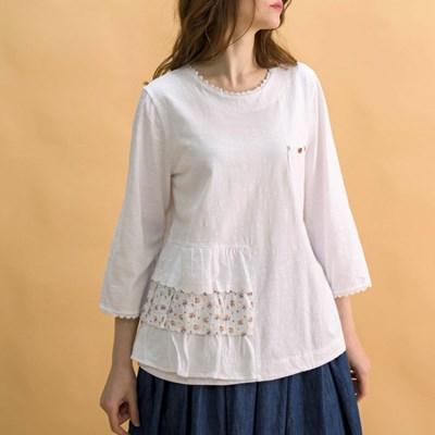 배색 3단 레이스 티셔츠