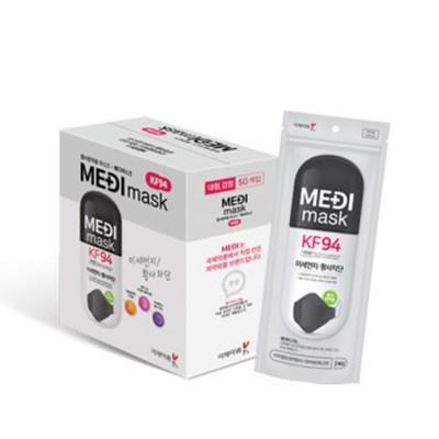 국제약품 메디마스크 KF94 황사방역 대형 블랙 50매입