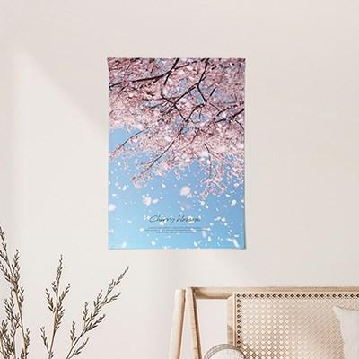 패브릭포스터 두꺼비집가리개 벽장식 50x70 벚꽃무드