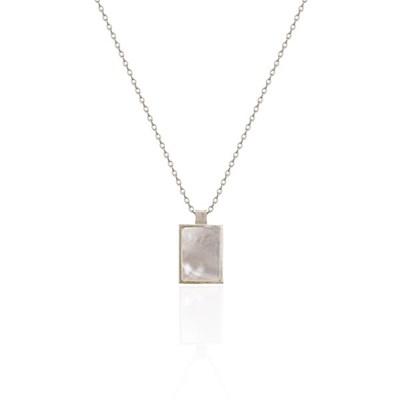 [엄정화 착용][silver925]square mother of pearl necklace
