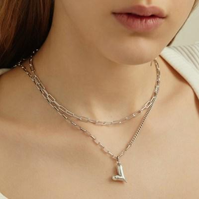 [효연,아이키 착용][silver925] cozy heart long necklace