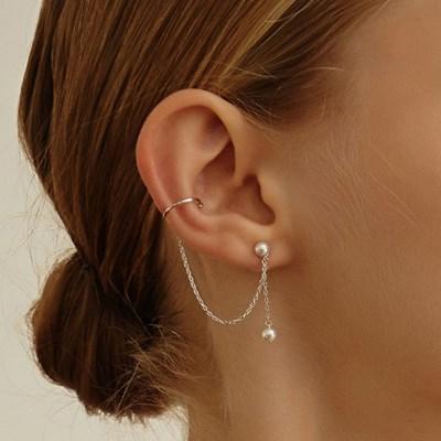 [예인,지숙착용][silver925]pearl chain earcuff