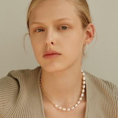 [샤이니 온유 착용][silver925]clear pearl chain necklace