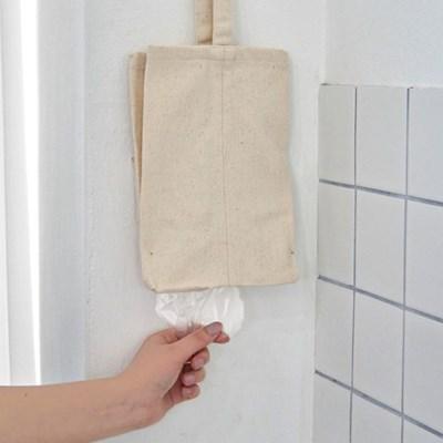 블랭크 패브릭 비닐봉투 정리함/비닐봉지 광목 수납걸이 (RM 321001)