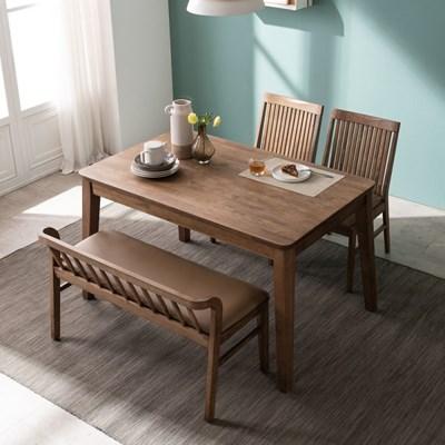 잉글랜더 오하나 원목 4인용 식탁세트(벤치1+의자2)_(13039456)