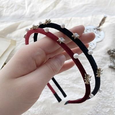 [드앙땅] 얇은 벨벳 별 진주 머리띠 (2color) 얇은 보석 헤어밴드