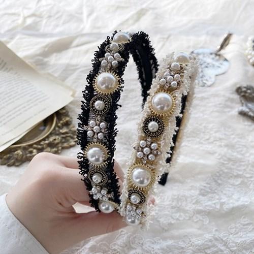 [드앙땅] 트위드 진주 보석 헤어밴드(2color) 럭셔리 고급 머리띠