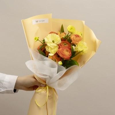 오렌지 라넌큘러스 꽃다발(생화,전국택배)