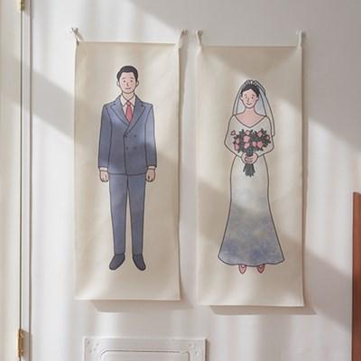 웨딩 세로형 패브릭 포스터 / 바란스커튼