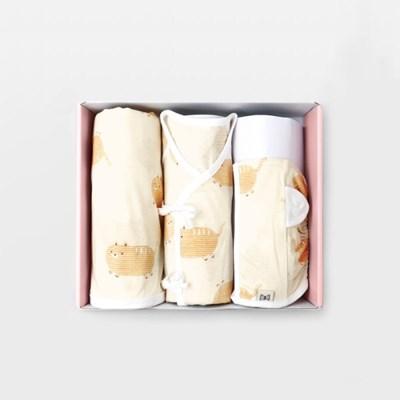 뚱냥이 출산선물세트(배냇저고리+속싸개+모자)_여름용