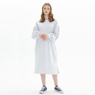 PUFF SLEEVE DRESS_CEMENT GRAY
