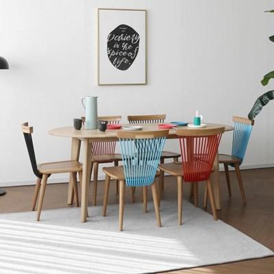 [오크] A3형 라운드식탁/테이블 세트 : 화이트오크 1800_(1693010)