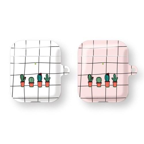 프루그나  체크무늬선인장 에어팟 하드 케이스