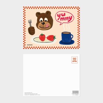 [카멜앤오아시스] Yummy 딸기 핫초코 디저트 테디 곰 엽서