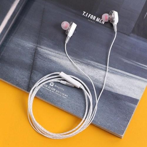 듀얼 유닛 커널형 이어폰(화이트)/ 무통증 이어폰
