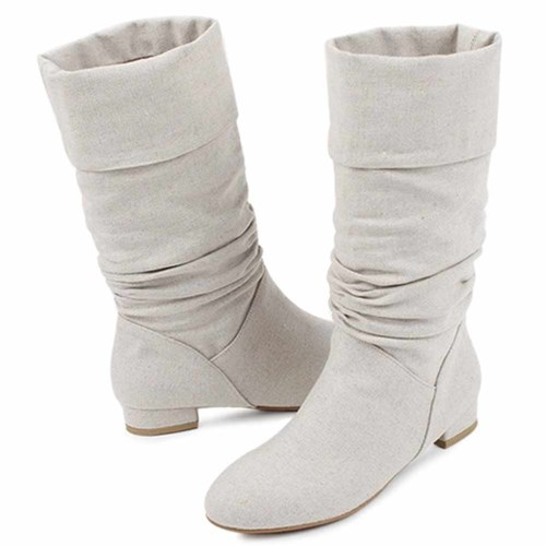 kami et muse Shirring fabric middle boots_KM21s024