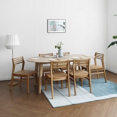 [오크] A형 라운드식탁/테이블 세트 : 화이트오크 1800_(1696356)