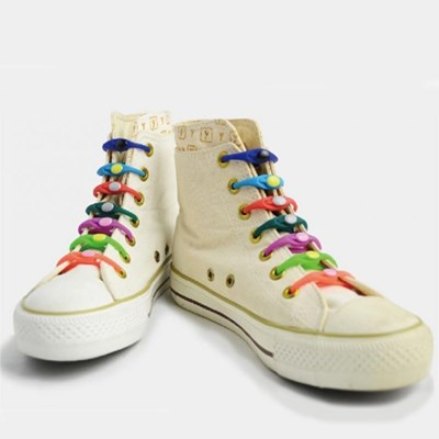 V-tie 매듭없는 실리콘 운동화끈 신발끈 6p set 색상랜덤