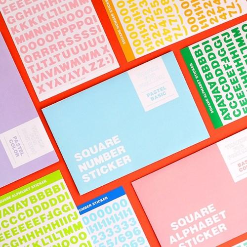 반듯반듯 알파벳 숫자 스티커 10가지 컬러 세트