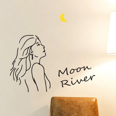 Moon river 감성 일러스트 레터링 인테리어 스티커