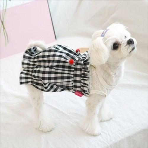 강아지치마 체크벌룬원피스 애견의류 펫옷 외출복