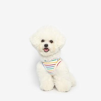 강아지 레인보우 민소매 여름옷