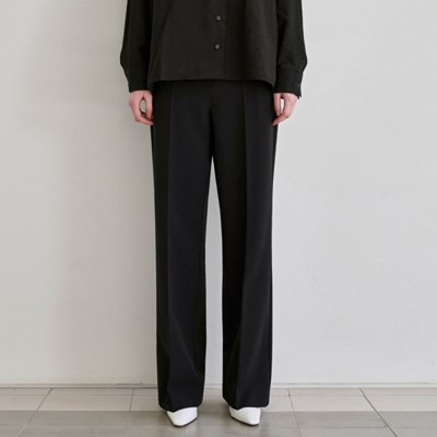 SPRING WIDE LONG SLACKS_BLACK