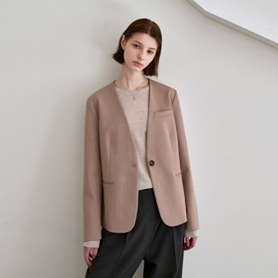 NO COLLAR CLASSIC JACKET_BEIGE