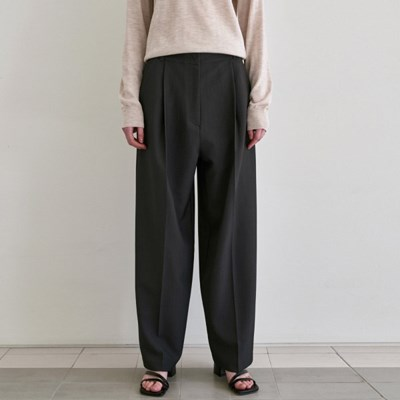 POSH WIDE TUCK SLACKS_CAHRCOAL