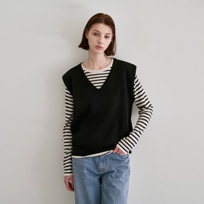 SPRING LIGHT KNIT VEST_BLACK